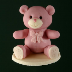 Sitting bear, girl