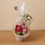 Basket with marzipan amanitas